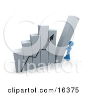 Blue Person Pushing Up The Last Column On A Bar Graph Chart Symbolizing Effort And Success Clipart Illustration Graphic