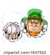 Poster, Art Print Of Leprechaun Tough Cartoon St Patricks Day Character Or Baseball Sports Mascot