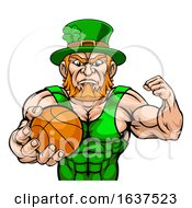 Leprechaun Tough Cartoon St Patricks Day Character Or Basketball Sports Mascot