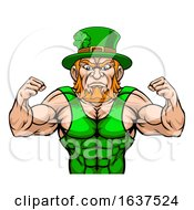 Leprechaun Tough Cartoon St Patricks Day Character Or Wrestling Sports Mascot by AtStockIllustration