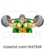 Superhero Mascot Weightlifter Lifting Big Barbell