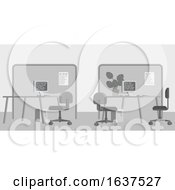 Office Desks Flat Background Interior Cartoon