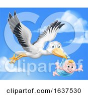 Stork Cartoon Pregnancy Myth Bird With Baby Boy