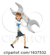 Doctor Woman Holding Spanner Wrench Mascot Concept