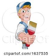 Poster, Art Print Of Painter Decorator Paintbrush Handyman Cartoon Man