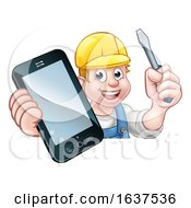 Poster, Art Print Of Electrician Handyman Phone Concept
