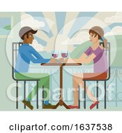 Young Couple Sea Side Restaurant Cartoon