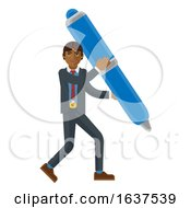 Asian Business Man Holding Pen Mascot Concept