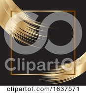 Elegant Background With Gold Frame And Brush Strokes