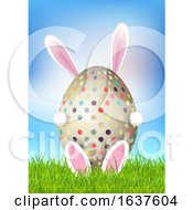 Poster, Art Print Of Cute Easter Background With Bunny Holding Egg