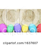 Poster, Art Print Of 3d Easter Eggs Against A Wooden Texture