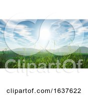 3D Grassy Landscape Against A Blue Sunny Sky