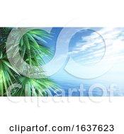 3D Palm Trees Against A Blue Ocean Landscape