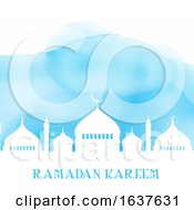 Ramadan Kareem Background With Mosque Silhouette On Watercolour Texture