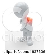 3D Figure Holding His Shoulder In Pain