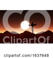 3D Sunset Landscape With Jesus On The Cross