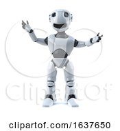 3d Happy Robot On A White Background by Steve Young