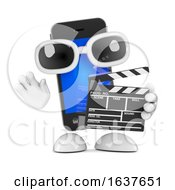 3d Smart Phone Mascot Holding A Clapperboard On A White Background by Steve Young