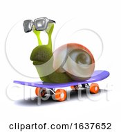 3d Skateboarding Snail On A White Background by Steve Young