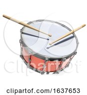 3d Snare Drum On A White Background