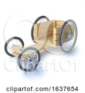 3d Wood Soapbox Go Cart On A White Background