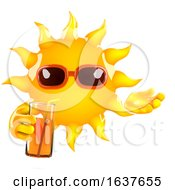 3d Sun Character Drinking Juice On A White Background