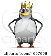 3d Happy Penguin King On A White Background by Steve Young