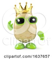 3d Potato King On A White Background by Steve Young