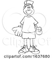 Cartoon Black And White Happy Boy With A Baseball And Glove