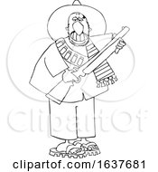 Cartoon Black And White Armed Bandito Holding A Rifle