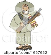 Cartoon Armed Bandito Holding A Rifle