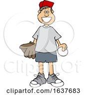 Cartoon Happy White Boy With A Baseball And Glove
