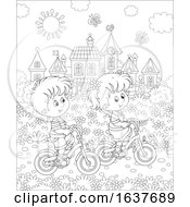 Poster, Art Print Of Black And White Children Riding Bicycles