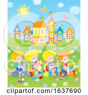 Poster, Art Print Of Children Playing On A Toy Train