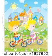 Poster, Art Print Of Children Riding Bicycles