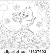 Poster, Art Print Of Black And White Spring Chick Painting An Easter Egg