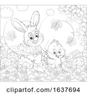 Poster, Art Print Of Black And White Spring Bunny Rabbit And Chick