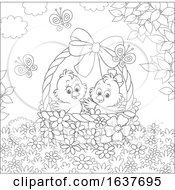 Poster, Art Print Of Black And White Spring Chicks In An Easter Basket