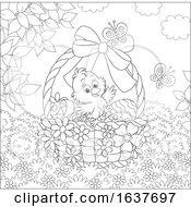 Poster, Art Print Of Black And White Spring Chick In An Easter Basket