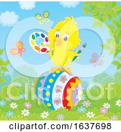 Spring Chick Painting An Easter Egg