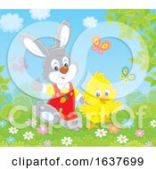 Poster, Art Print Of Spring Bunny Rabbit And Chick