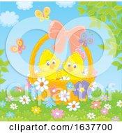 Poster, Art Print Of Spring Chicks In An Easter Basket