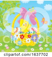Poster, Art Print Of Spring Chick In An Easter Basket