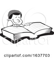 Cartoon Grayscale Black Boy Reading A Book