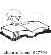 Cartoon Grayscale Boy Reading A Book