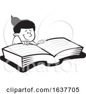 Cartoon Grayscale Black Girl Reading A Book