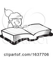 Cartoon Grayscale Girl Reading A Book
