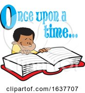 Cartoon Black Boy Reading A Fairy Tale Book