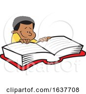 Cartoon Black Boy Reading A Book