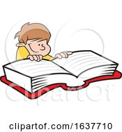 Cartoon White Boy Reading A Book